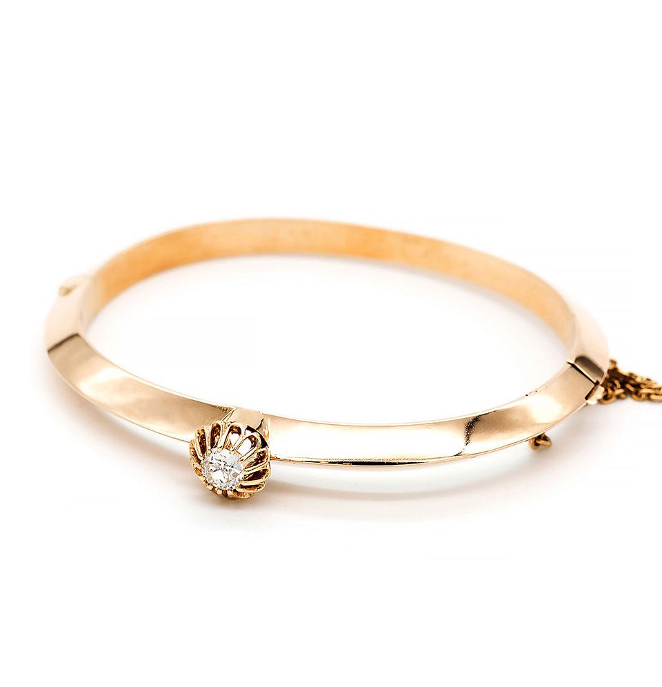 Brățară stil Art Deco, din aur galben, cu diamant