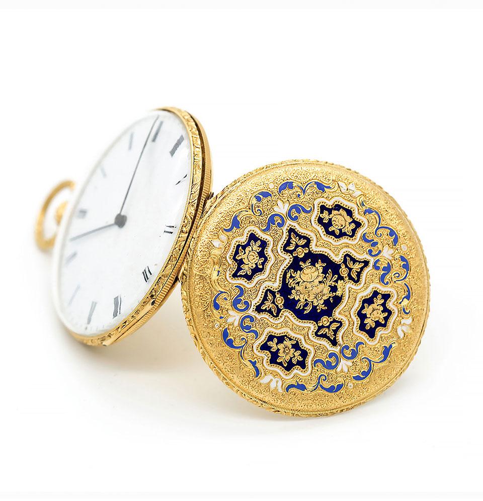 Ceas de buzunar din aur cu decorație din email, Robin à Paris
