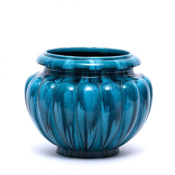 Cachepot stil Art Deco din ceramică albastră