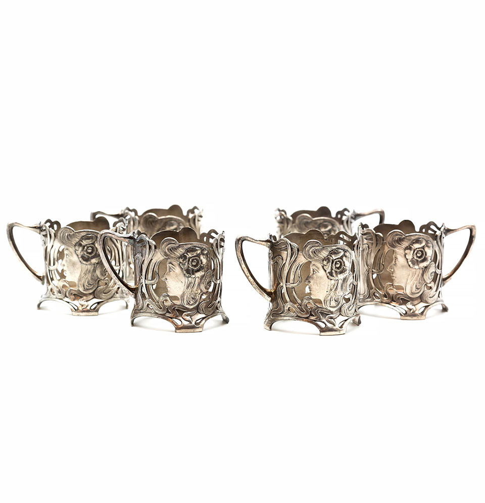 Set de șase suporturi pentru pahare de ceai, stil Art Nouveau